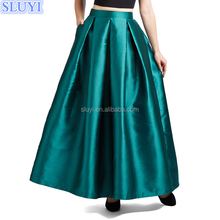 high quality western style latest skirt design pictures mature women lady long skirt models traditional green satin maxi skirts