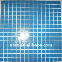 Single pearl color 20x20mm cheap blue glass mosaic for swimming pool