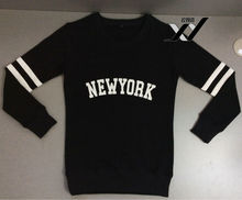 2014 NEW YORK printing black women long sleeve cotton sweatshirt