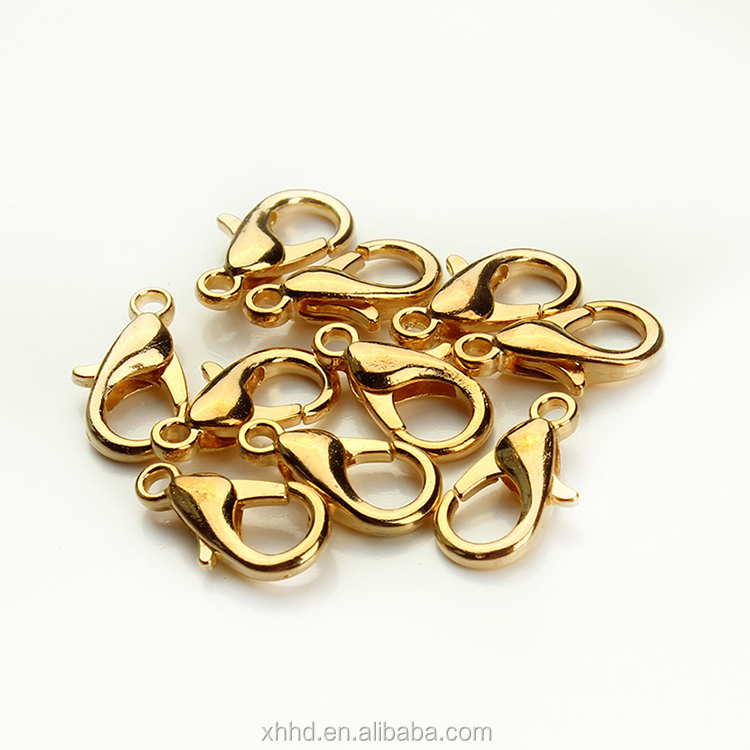 Jewelry components 10mm 12mm 14mm 15mm 16mm 18mm gold plated metal lobster clasp bracelet necklace clasp