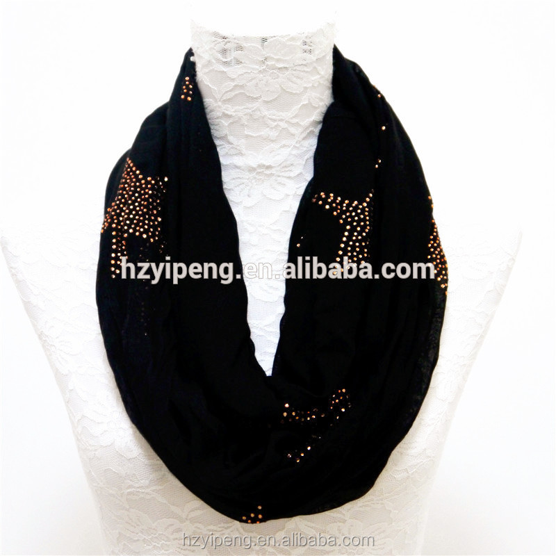 Female black custom tube scarf rhinestone 2017 new ripple design high quality korean infinity scarf