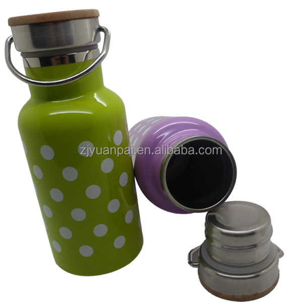 2017 new design 350ML vacuum bottle with bamboo lid
