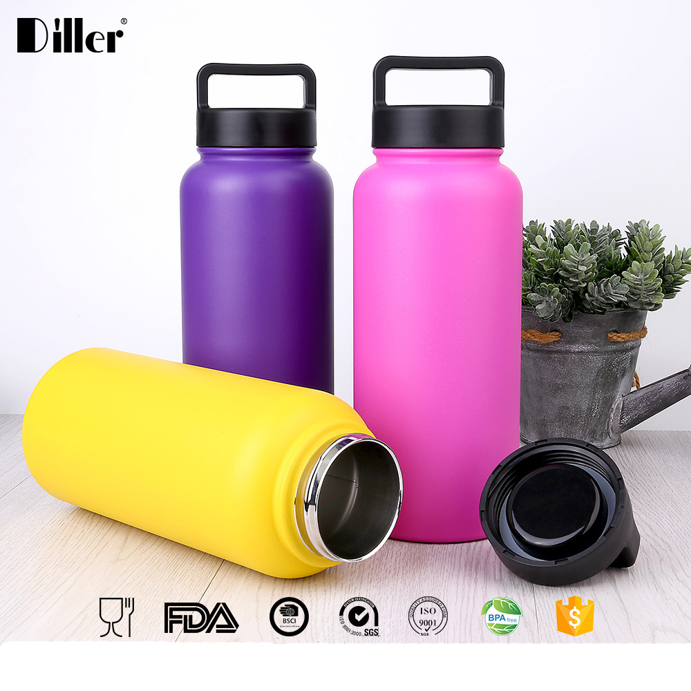 Diller double wall stainless steel hydro flask wide mouth vacuum insutated thermose water bottle