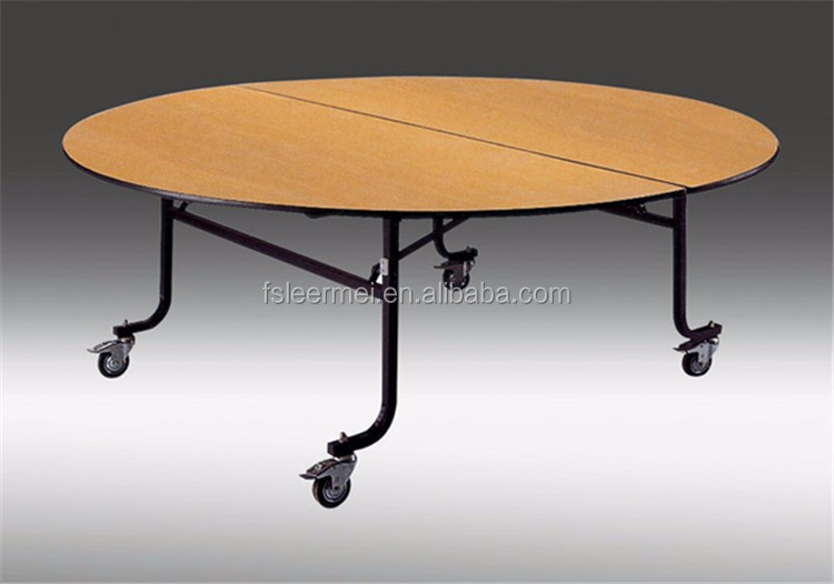 folding fruniture plywood custom made wooden round banquet table with wheels