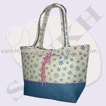 Embroidery lady jute bag
