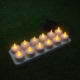 12 LED flickering rechargeable tea lights/candle set, wax less, flameless