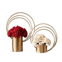 Wholesale gold stainless steel vase cylinder for decoration