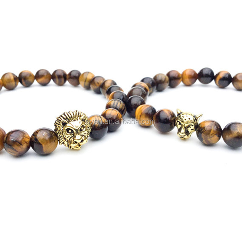 SN1420 Couple bracelets Matching couple Long distance relationship Lion & panther bracelets Tigers eye beaded His Hers bracelets