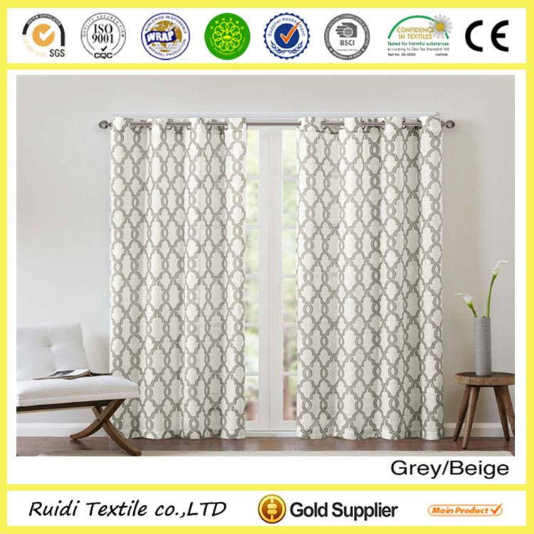 wholesale cheap custom design printed blackout eyelet window curtain