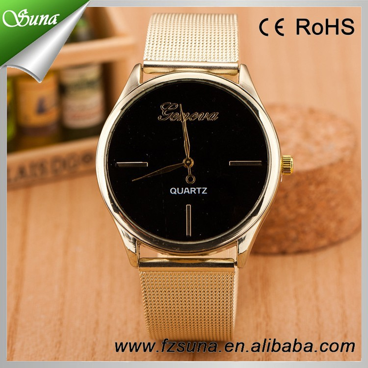 New Product Fashion Design Geneva Women Watches Gold Ladies Wrist Watches