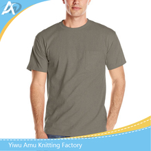 2017 Amu HIgh quality promotional pocket round neck blank men t shirt