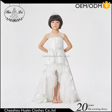 High quality attractive tulle and satin short front & long back flower girl dress