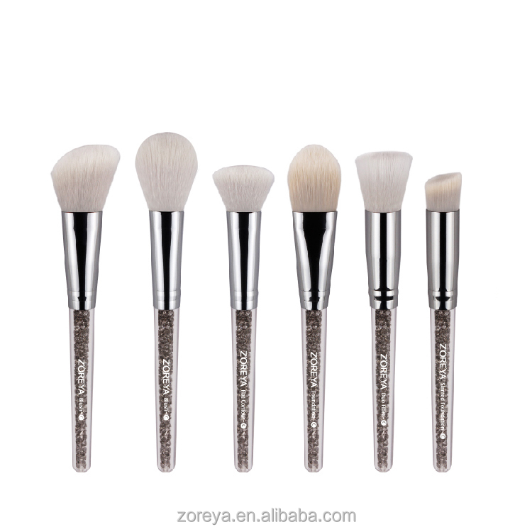New Arrival Crystal Inside Handle High Quality Synthetic Hair Blush Brush Contour Brush Makeup Brush