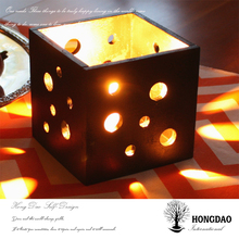 HONGDAO Hot Selling Custom Made Hollow design wooden gift candle box without lid