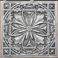 PL10 Faux tin finishes Artistic 3D embossed antique silver ceiling tiles