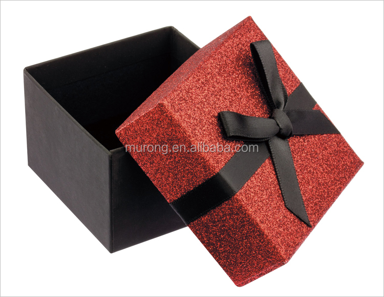 Red glitter universal gift box with bow