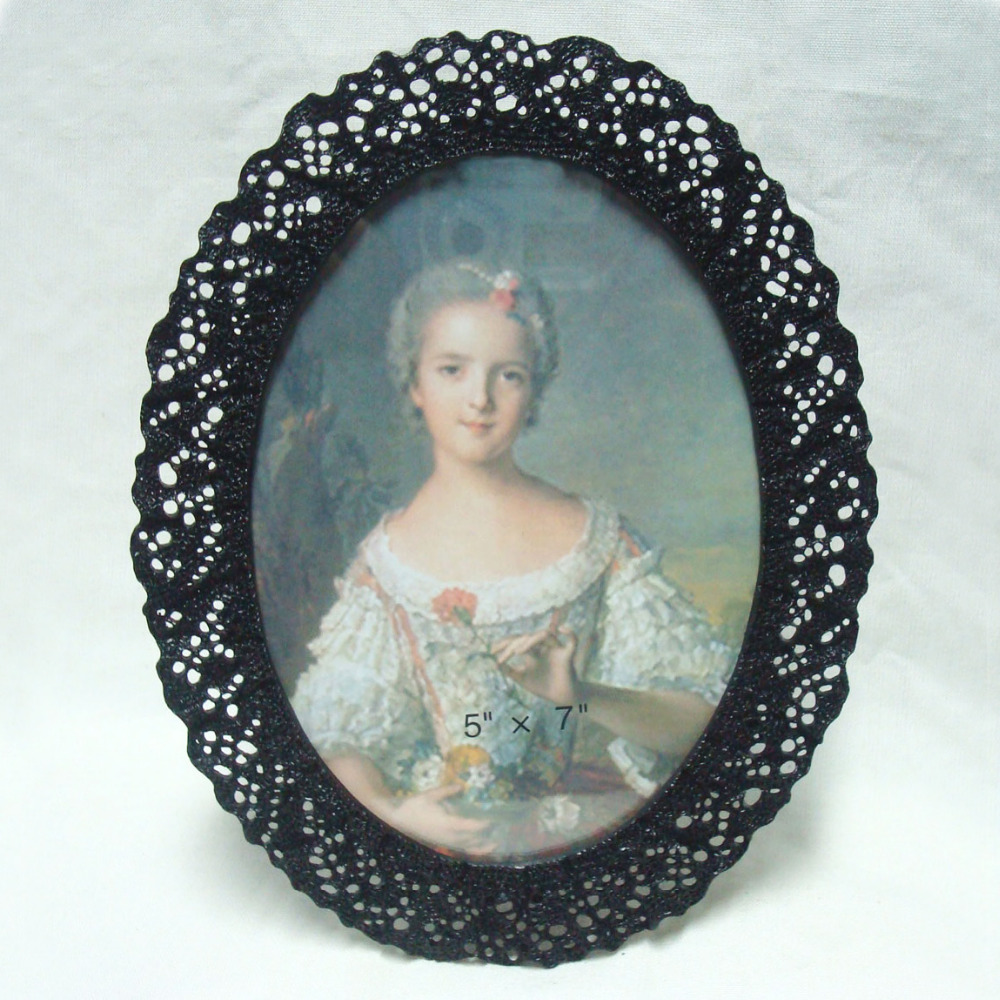 Oval Lace Design Black Metal Photo Frame 5x7 inch