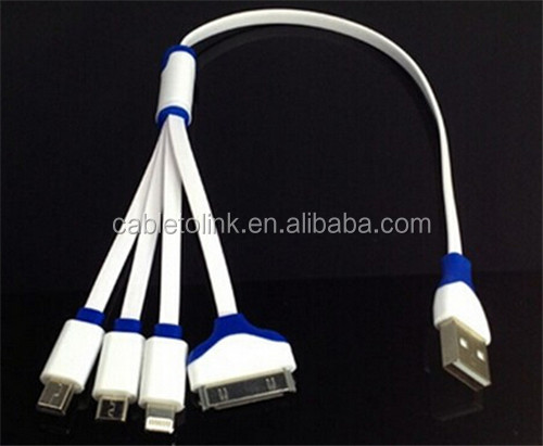 4-IN-1 DATA SYNC MOBILE PHONE CHARGER MULTI MICRO USB CABLE FOR SAMSUNG & IPHONE cabletolink factory