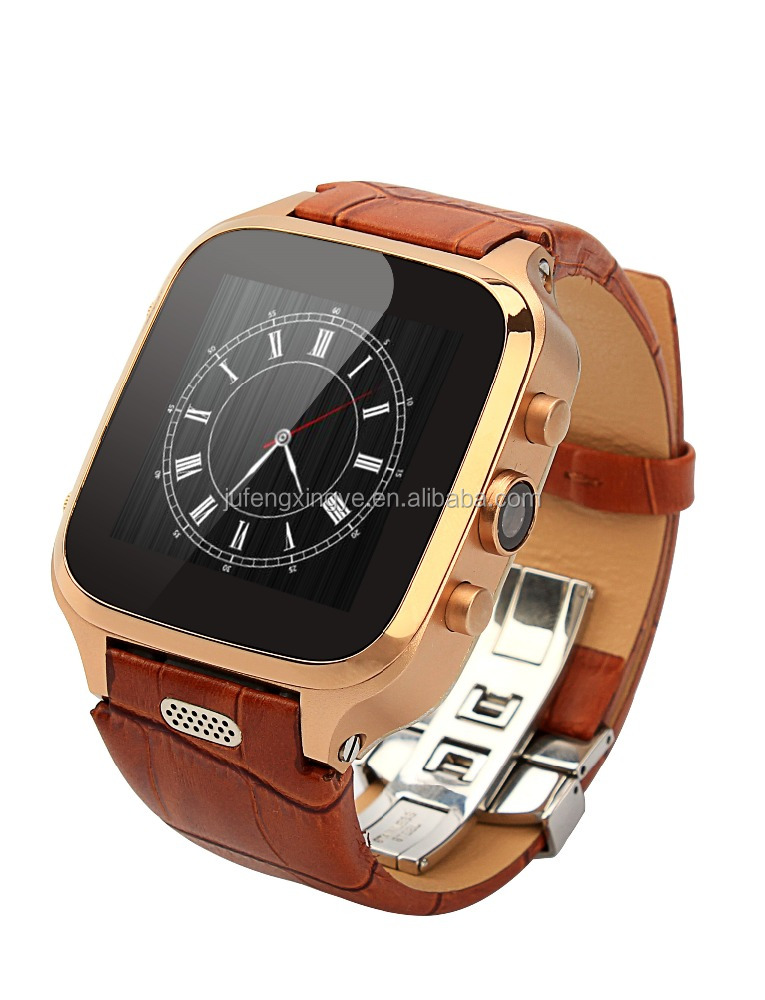 hot sales 2015 factory Android 4.4 SMS sync WCDMA 1GB ram W9 China Leather watch smart watch w9