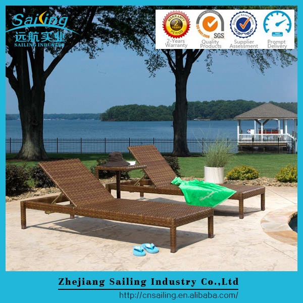 Sailing Top Sale Sgs Double Rattan Elegant Chaise Sun Lounge With Canopy