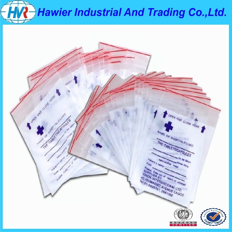 LDPE reclosable plastic ziplock medicine bag and pill bags from Hawier