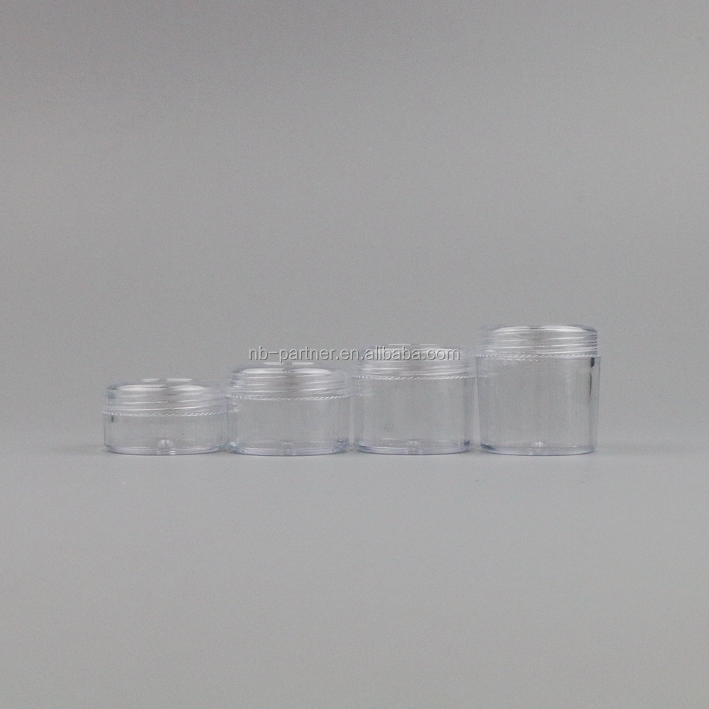 3g5g10g15g20g empty clear plastic PS mini small face eye cream containers/jars for cosmetics dispenser