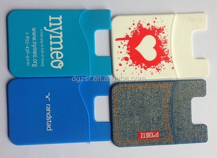 Colorful silicone phone wallet with 3M sticker