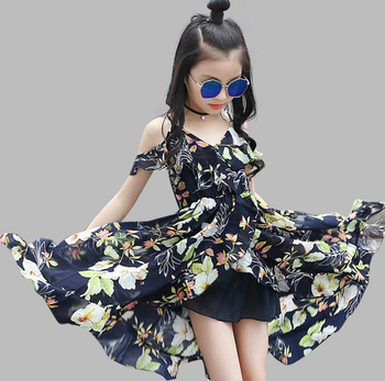 C80310B Dress Bohemia Style Dresses Girls Sleeveless Floral For Adolescents 8-12Y Big Kids Clothes