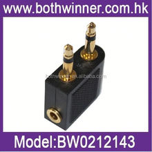WQ096 golden airplane/airline travel headphone adapter