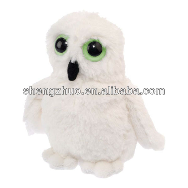 Stuffed white Owl cute baby plush toy with Glow in the Dark Eyes