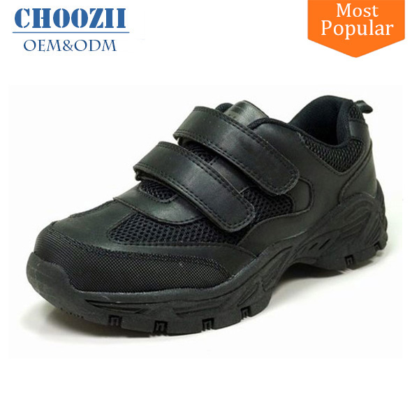 Choozii UK 2017 Latest Design Black Breathable Kids Leather Trainer Shoes