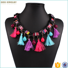 New vintage rope chain tassel pendant ethnic chunky turquoise necklace for women