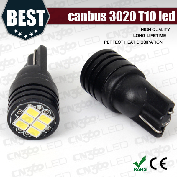 Hot Sale T10 Led Canbus Error Free W5W 3020 6SMD Warning Canceler Led auto map light