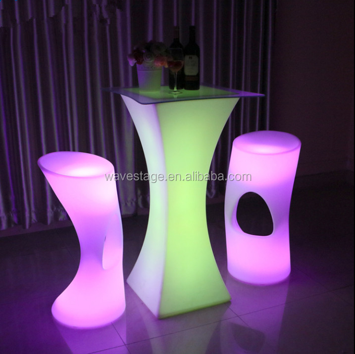 Modern design plastic lighted up led bar cocktail table for night club