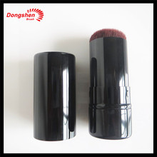 Custom logo goat hair retractable kabuki brush,black make up brush