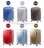 ABS+PC material sea shell type with spinner wheels trolley luggage bag set