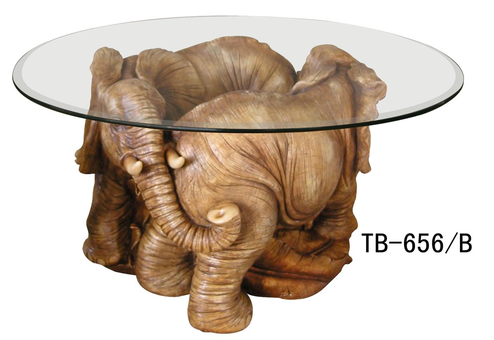 Resin elephant coffee table