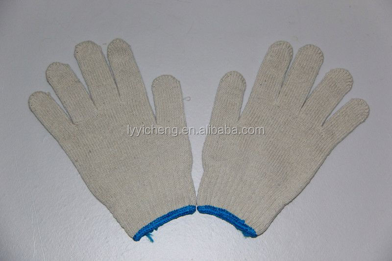 7/10 gauge white knitted cotton gloves manufacturer in china/skin colour safety gloves