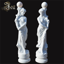 Natural stone lady control marble lamps with statue sculptures