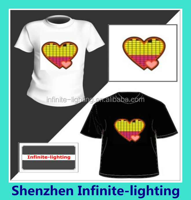 EL flash lighting sound activate t-shirts,el panel sound activated tshirt