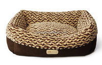 brown plush raised dog beds with removable cushion washable