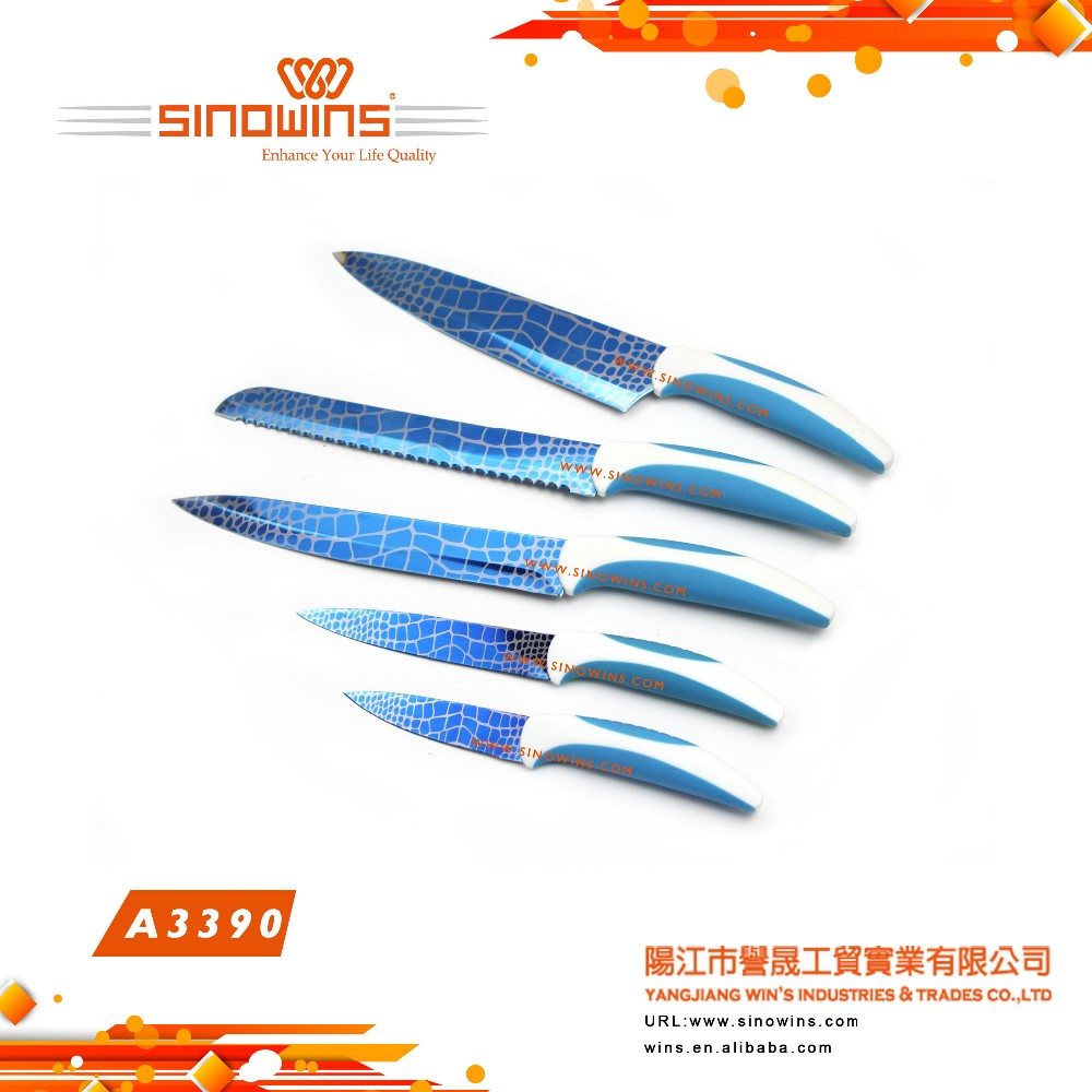 A3390 Promotion High Quality Blue Titanium Plated Blade Kitchen Knife Set