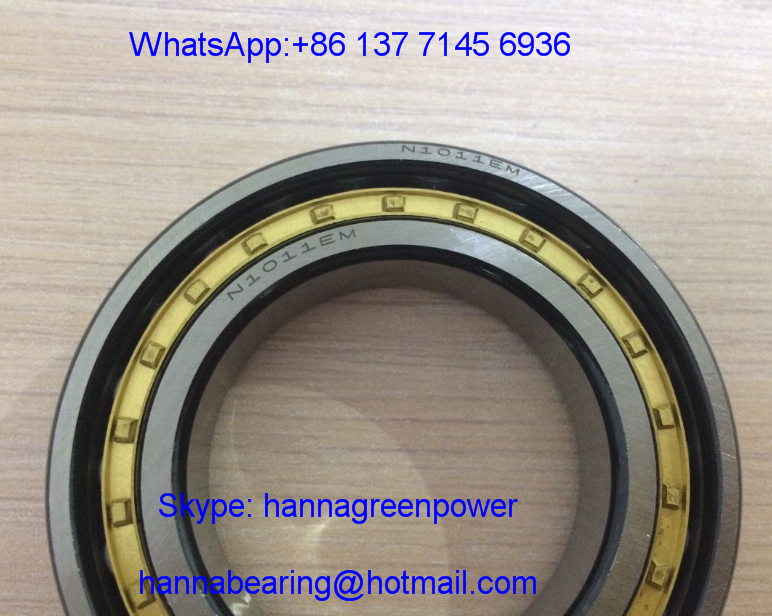 N1011 Single Row Cylindrical Roller Bearing ; N1011M/P6 Brass Cage Roller Bearing 55x90x18mm
