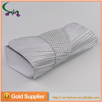 Pu leather factory price silver color women evening blank clutch bags