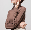 P18B90TR 100% cashmere plain knitted turtle neck tight lady falbala sweater
