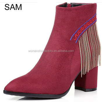 New fashion tassels design women high heel pointed toe ankle boot for hot-selling