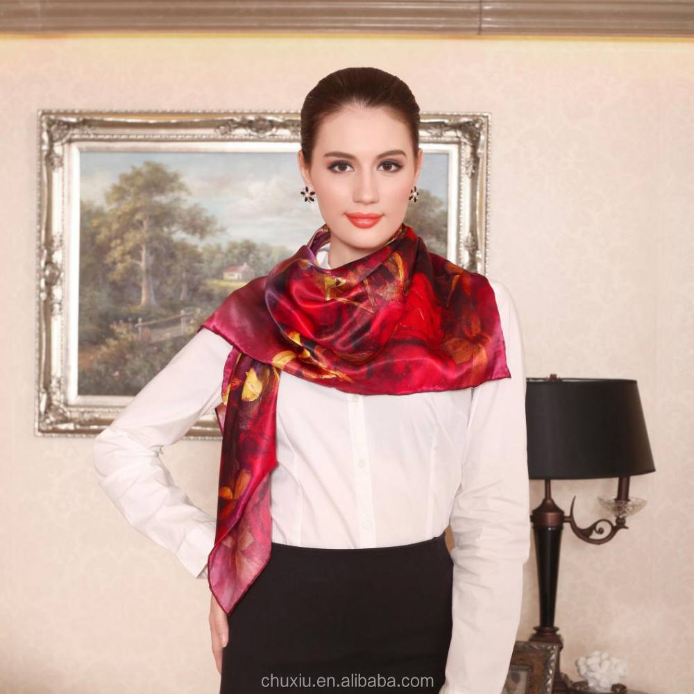 silk shawl customize 100 silk satin square scarf