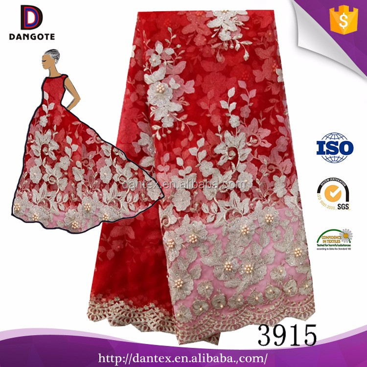 2017 cheap price new design lace fabric african 3d flower beads lace fabric french Lace fabric for wedding 3915
