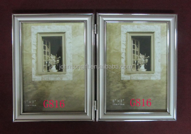 Bulk Sliver Color Shining Double Size 5x7 Size Revolving Aluminium Picture Fhoto For Boy&Girl Gifts
