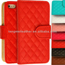 For Apple iPhone 5 Color Conversion Kit, Leather Quilted Flip Stand Stitched Wallet Case Cover For Apple iPhone 5 5S